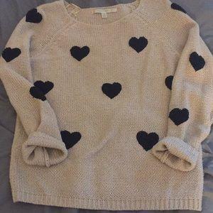 LC Lauren Conrad fuzzy heart sweater